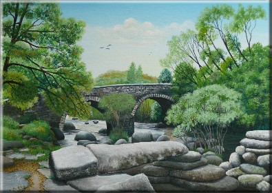 Painting of Dartmeet Bridges by Pat Harrison